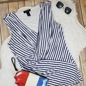WHBM Navy & White Stripe Faux Wrap Blouse M